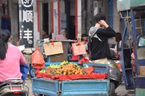 Verkehrshindernis Obsthändler