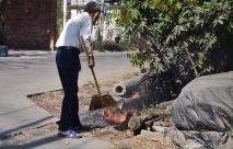 Müllbeseitigung im Straßengraben